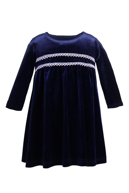 Wygodna welurowa sukienka z koronkową ozdobą na przodzie Livia