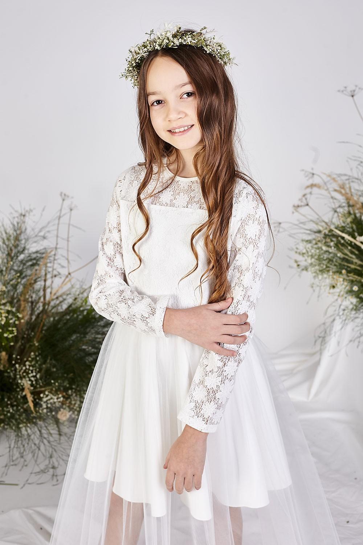 Tiulowa sukienka pokomunijna z długim rękawem Anet